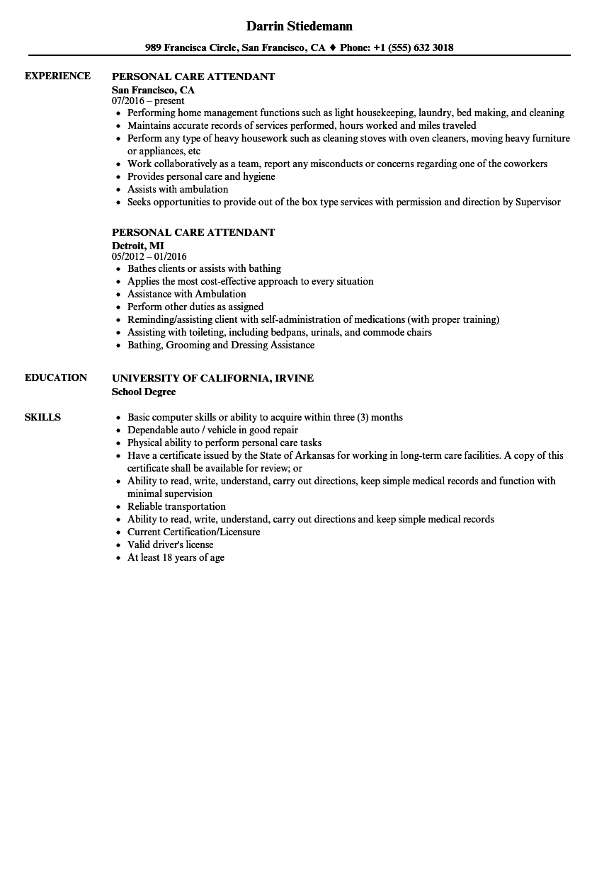 Download Personal Care Attendant Resume Sample As Image File  Personal Resume Examples