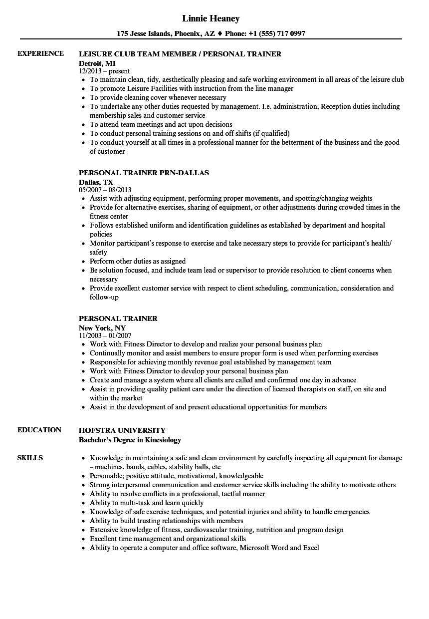 personal trainer resume samples velvet jobs