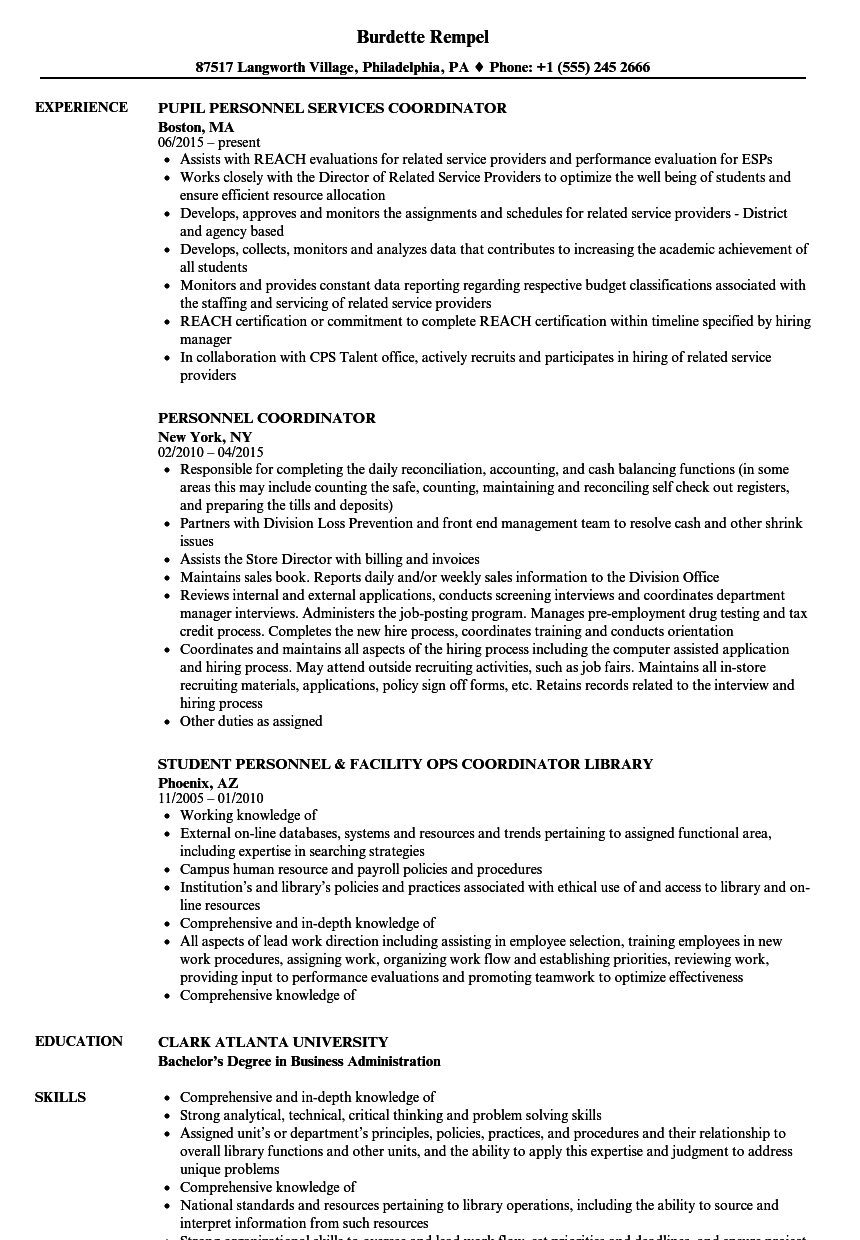 Personnel Coordinator Resume Samples Velvet Jobs