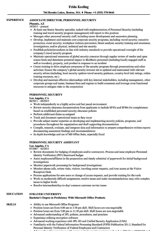 Personnel Security Resume Samples | Velvet Jobs