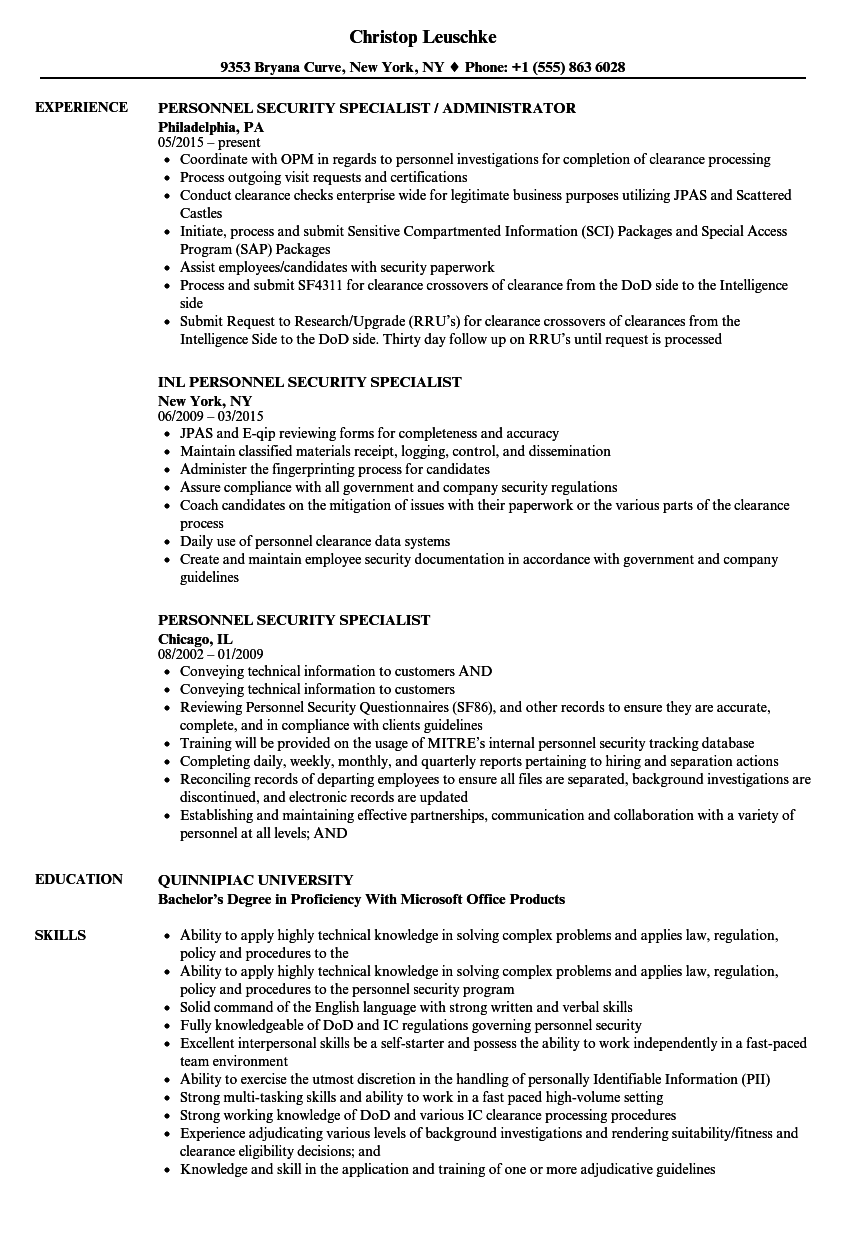 Personnel Security Specialist Resume Samples | Velvet Jobs