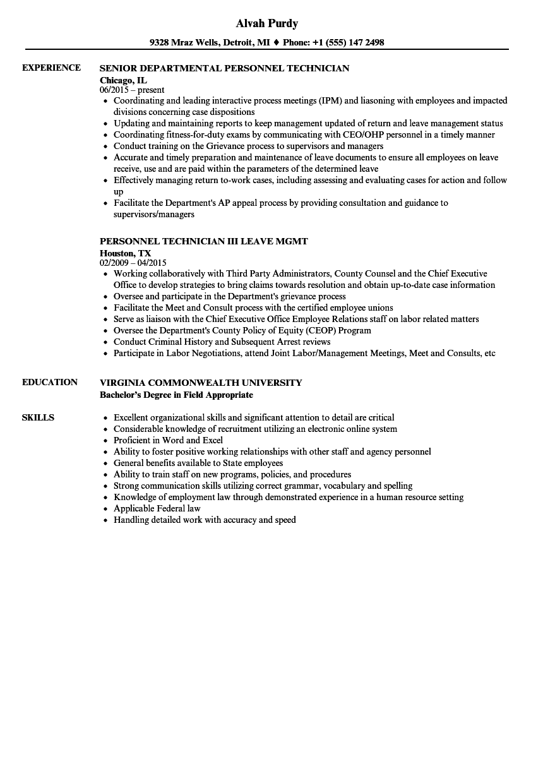 personnel technician resume samples