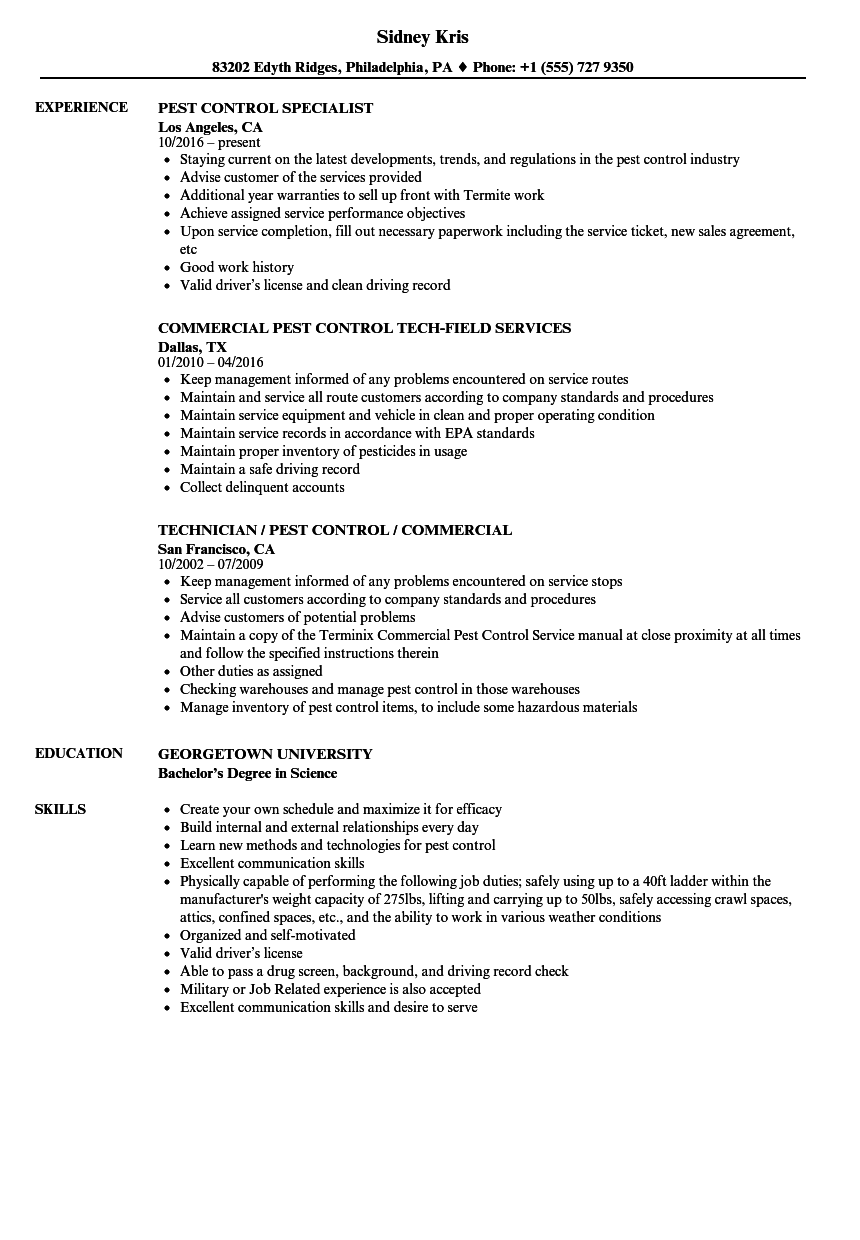 Download Pest Control Resume Sample As Image File
