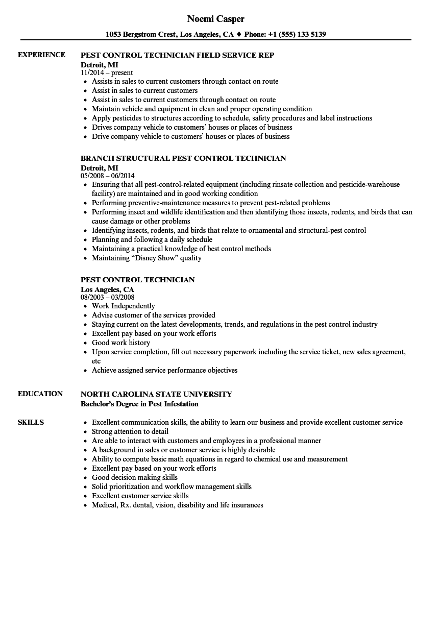 pest control technician resume samples