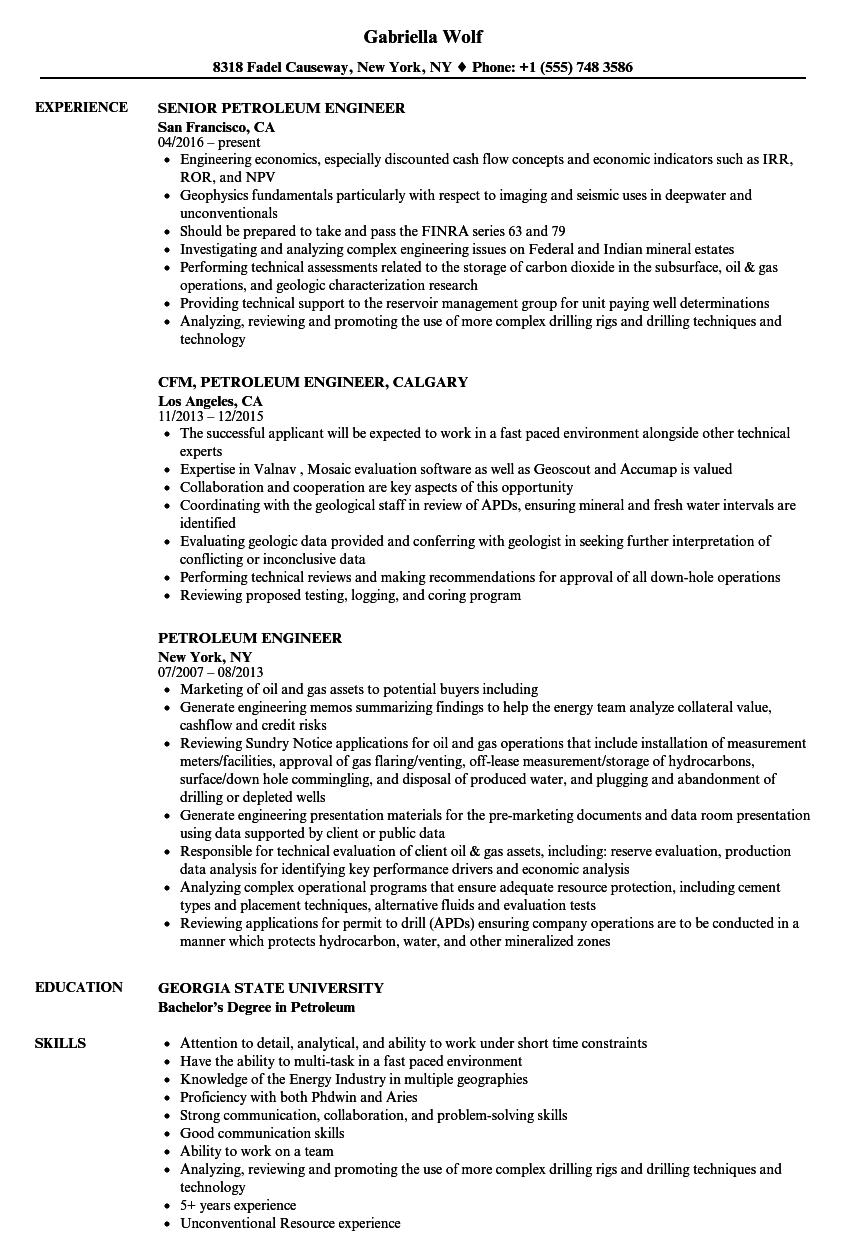Download Petroleum Engineer Resume Sample As Image File