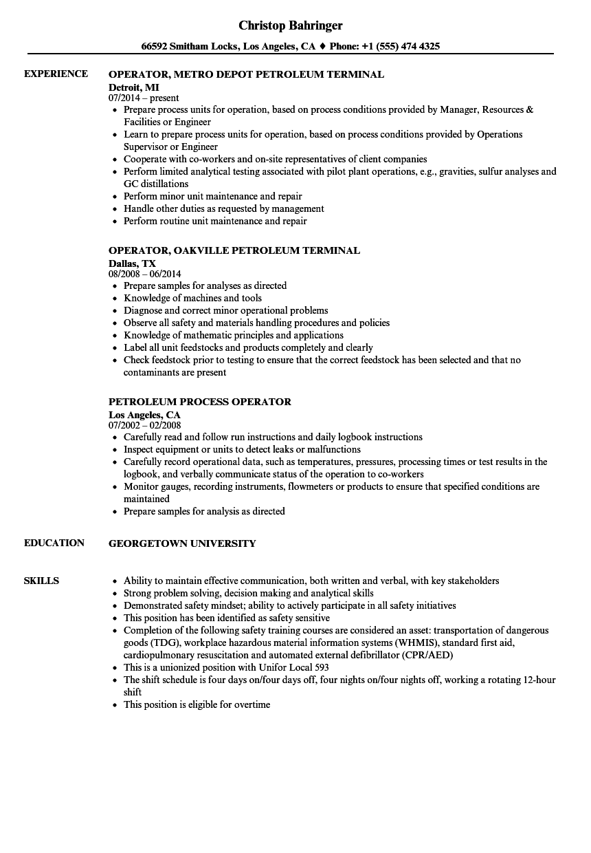 petroleum operator resume samples