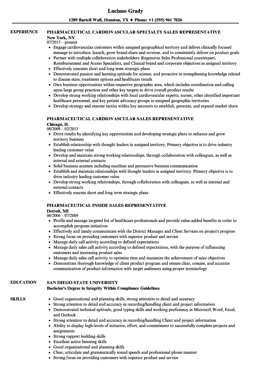 Pharmaceutical Representative Resume Samples Velvet Jobs