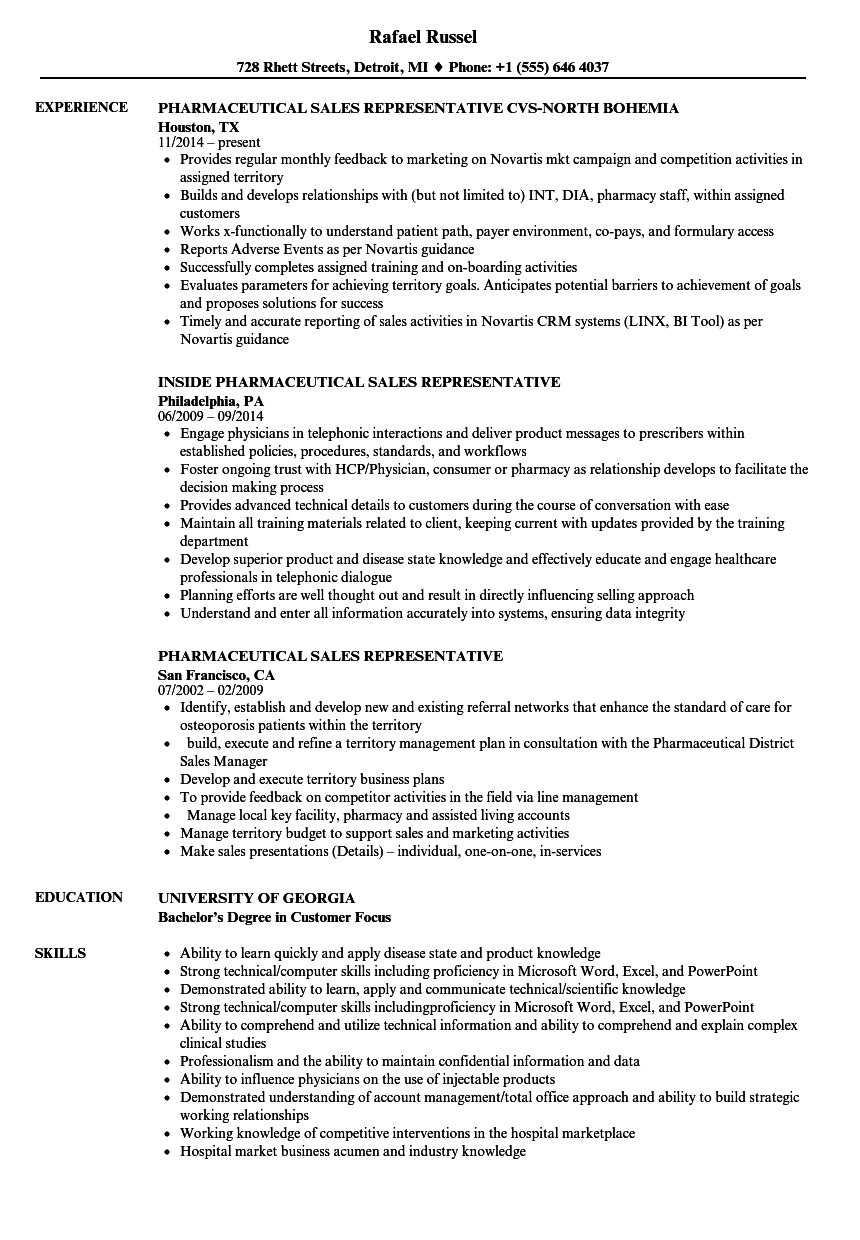 Pharmaceutical Sales Representative Resume Samples Velvet Jobs