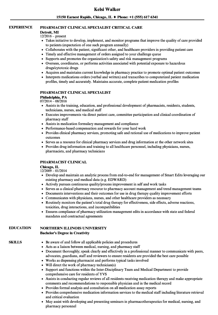 Pharmacist Clinical Resume Samples Velvet Jobs