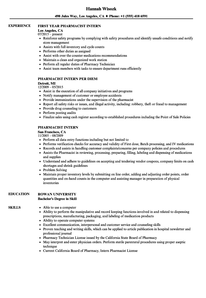 Download Pharmacist Intern Resume Sample As Image File