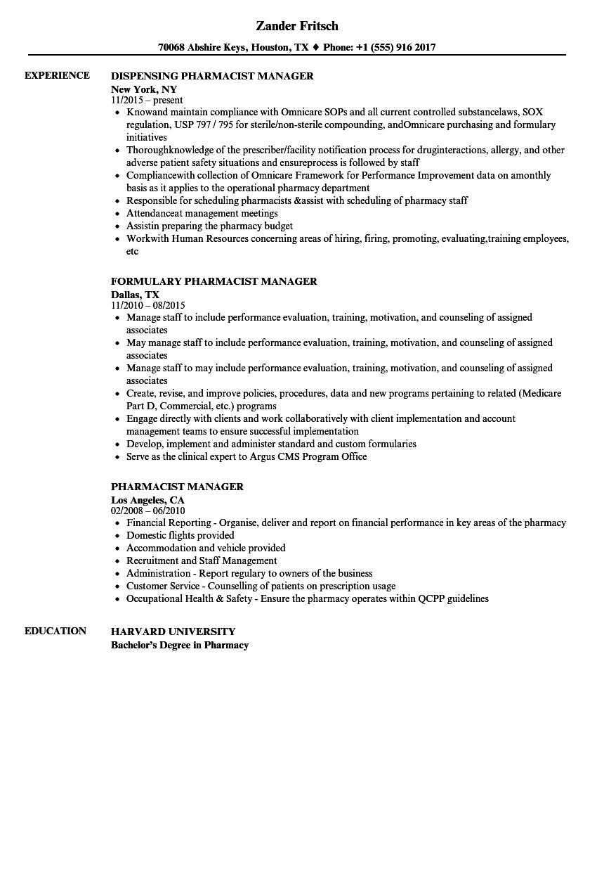 Pharmacist Manager Resume Samples Velvet Jobs