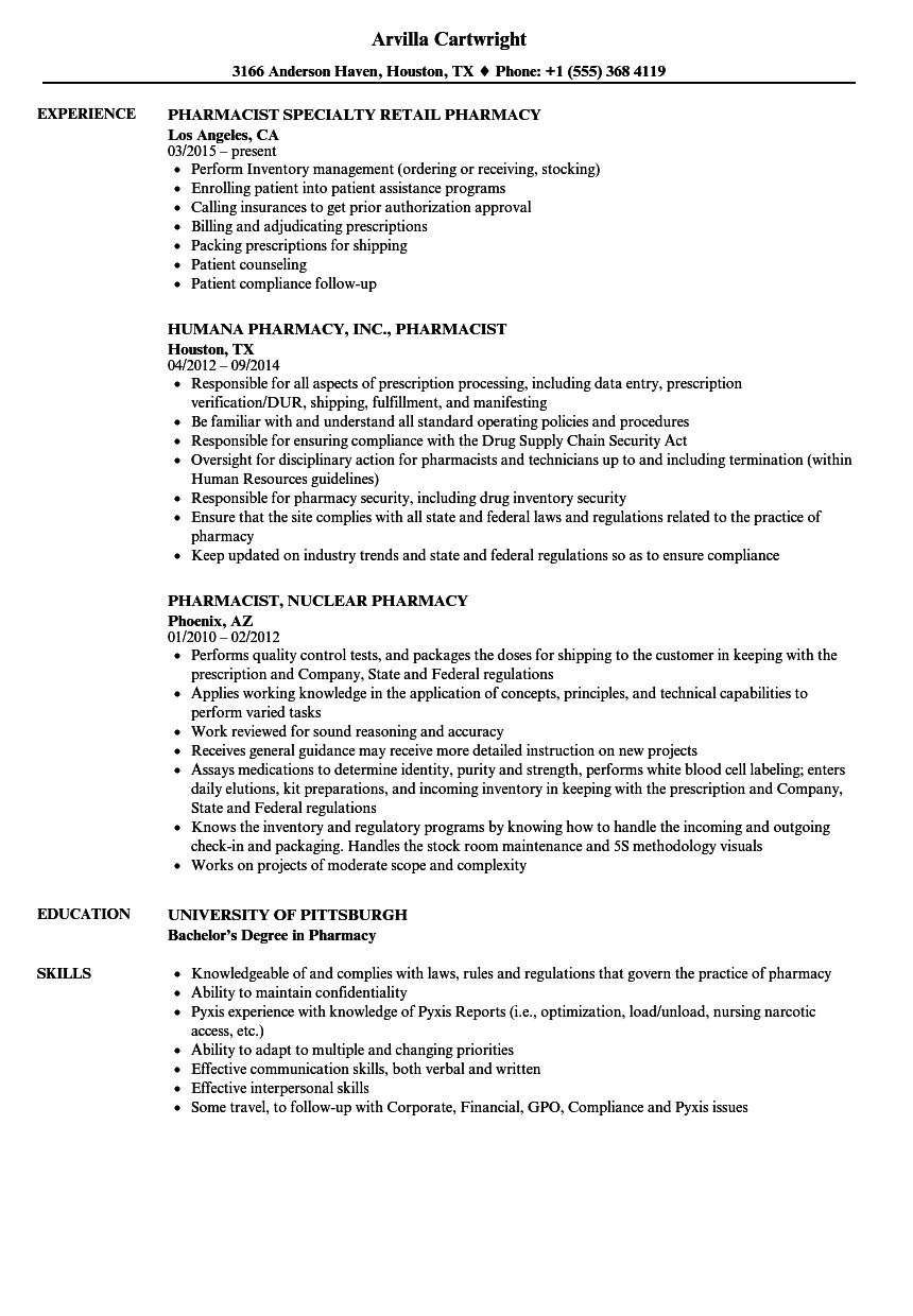 Pharmacist Pharmacy Resume Samples | Velvet Jobs