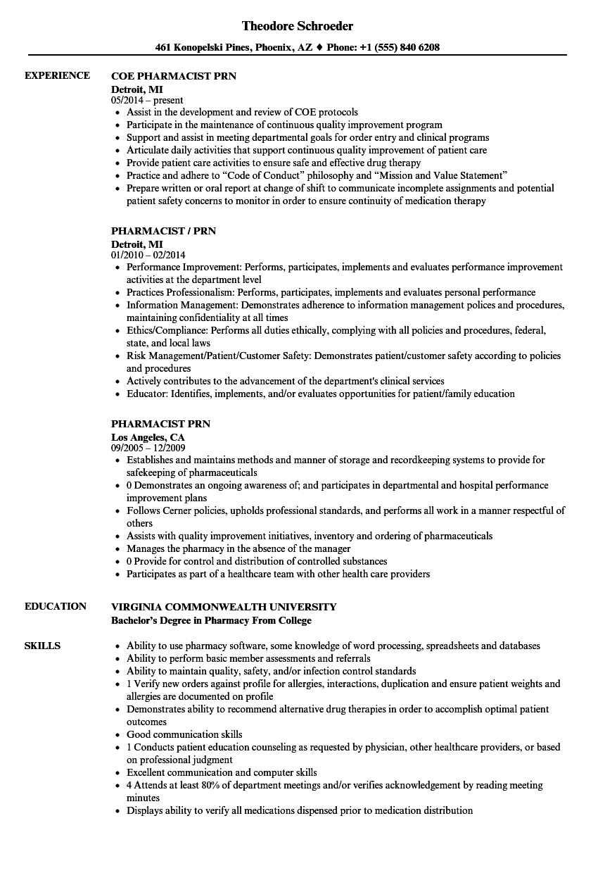 pharmacist prn resume samples