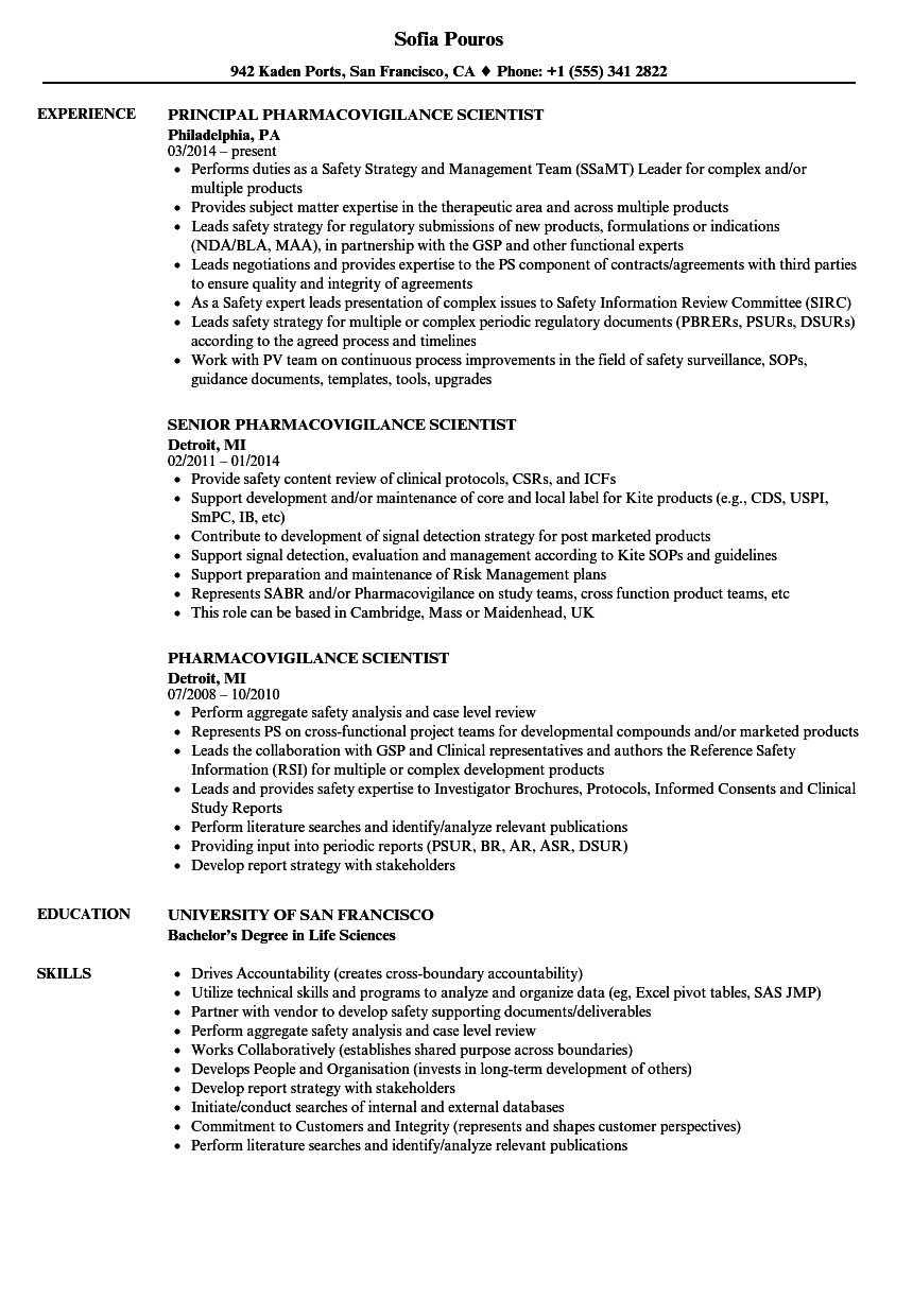 download pharmacovigilance scientist resume sample as image file - Life Science Resume Examples
