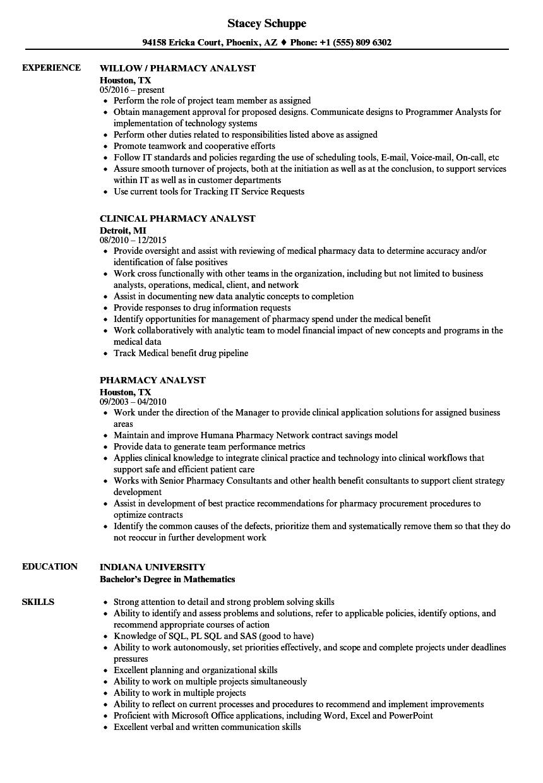 Pharmacy Analyst Resume Samples | Velvet Jobs
