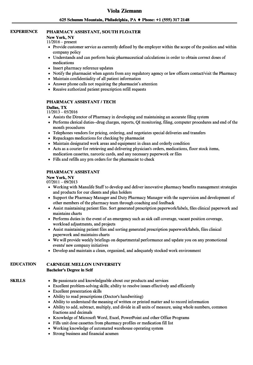 pharmacy assistant resume samples