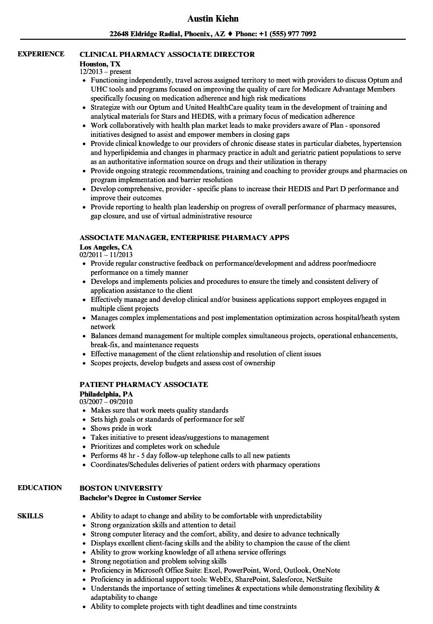 pharmacy associate resume samples
