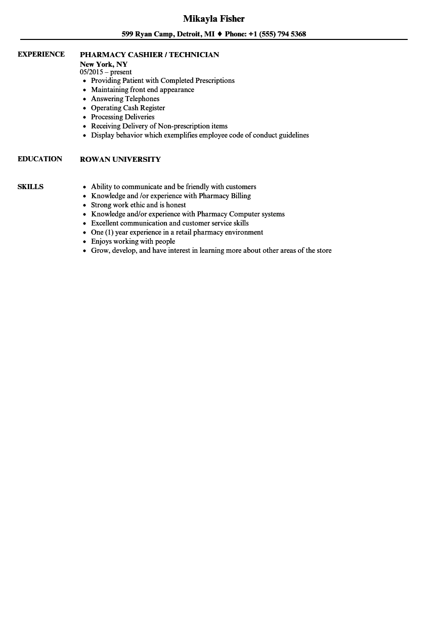 Pharmacy Cashier Resume Samples Velvet Jobs