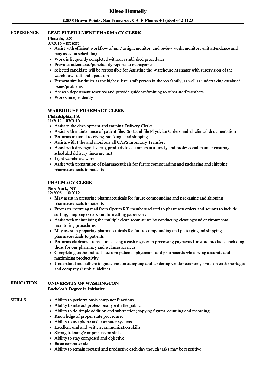 Pharmacy Clerk Resume Samples Velvet Jobs