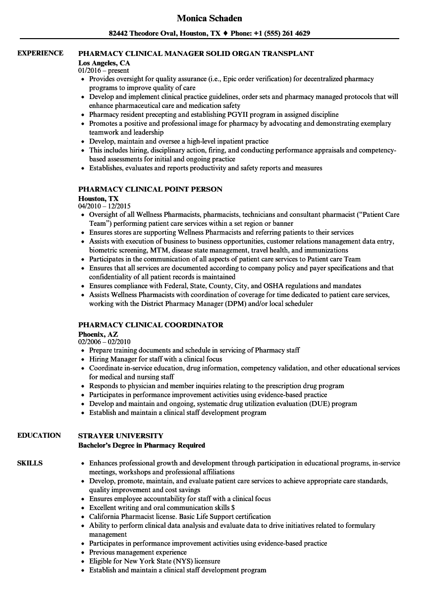Pharmacy Clinical Resume Samples