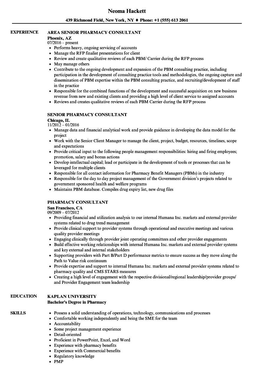 pharmacy consultant resume samples