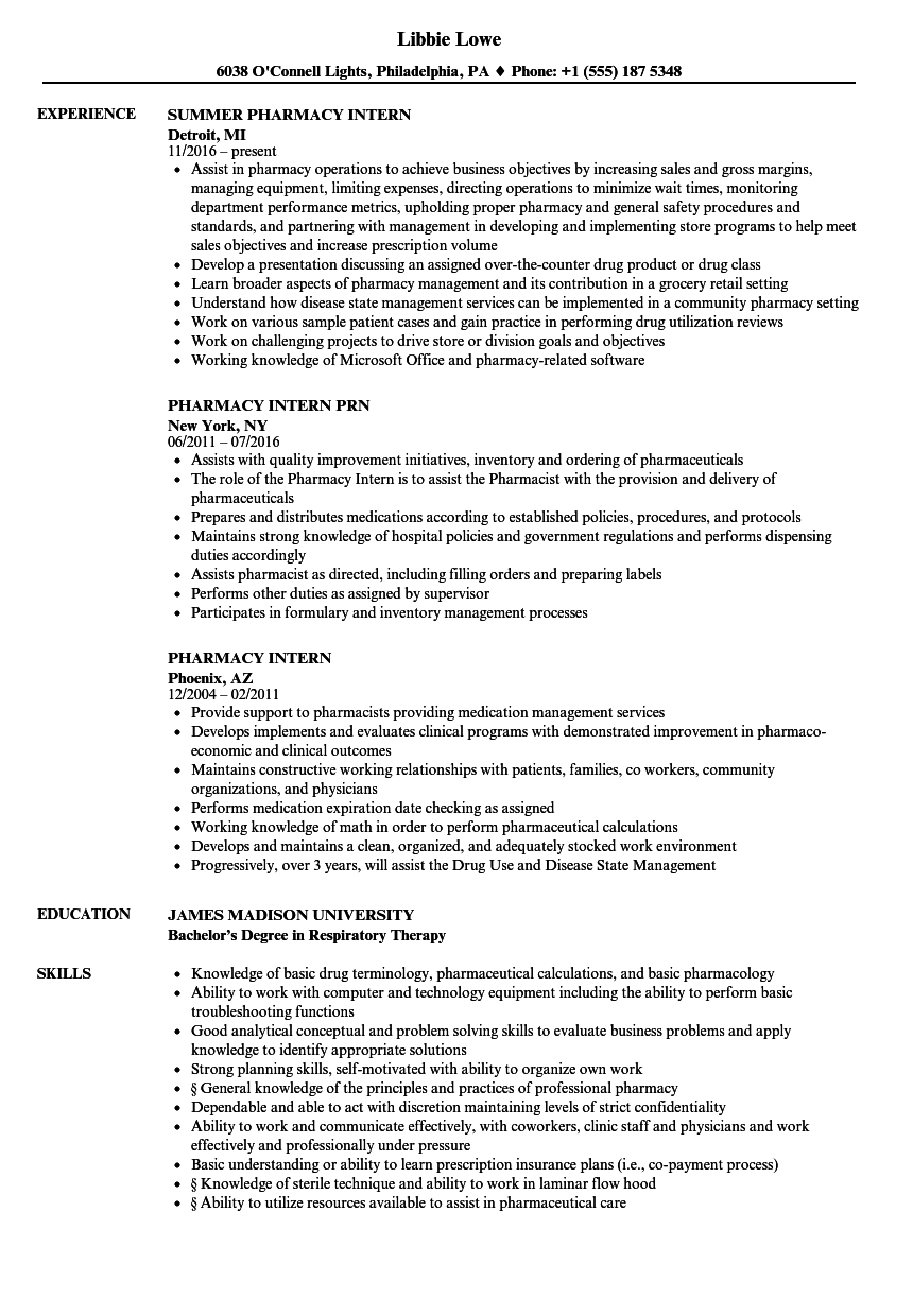 Pharmacy Intern Resume Samples