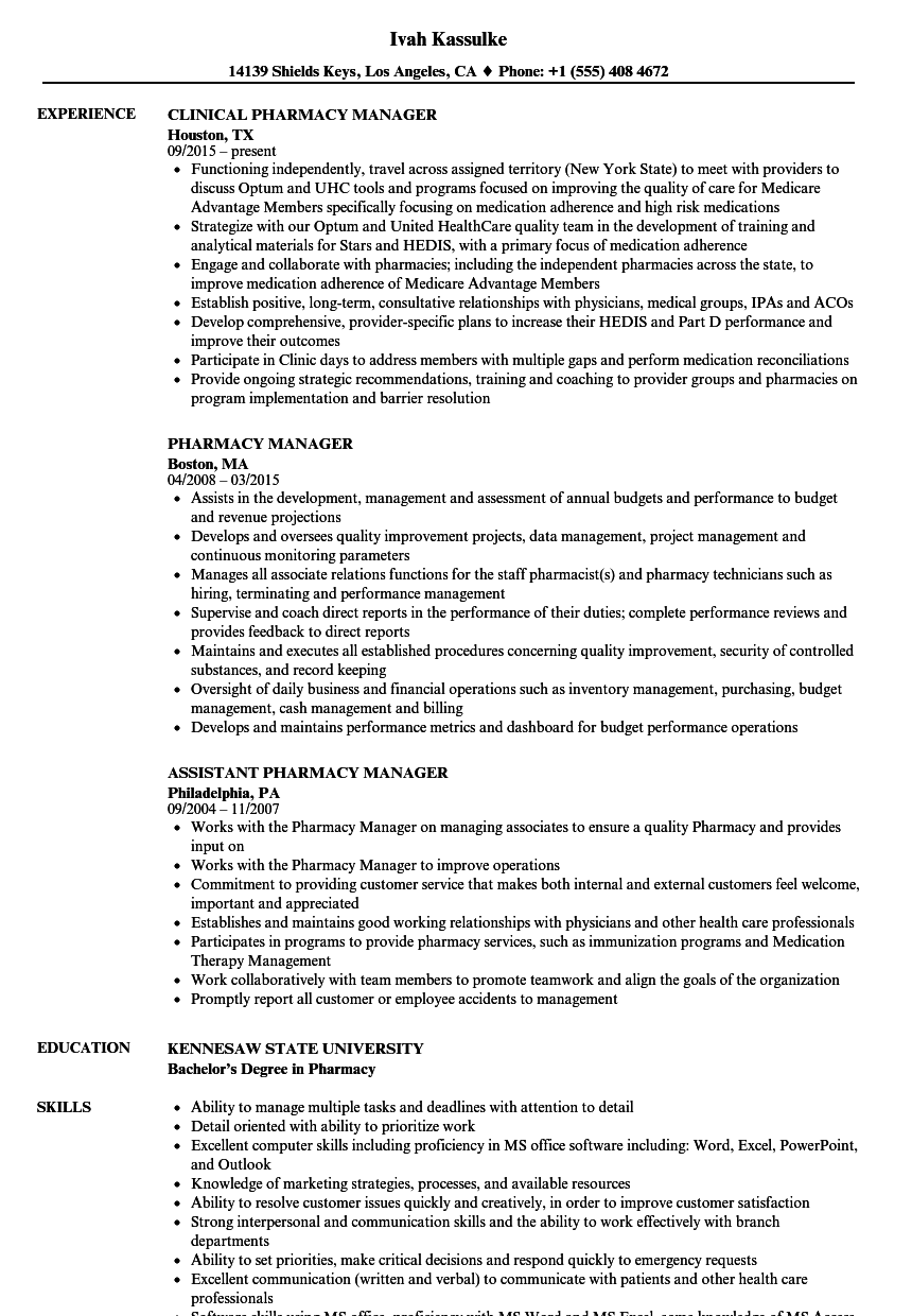Velvet Jobs  Pharmacy Manager Resume