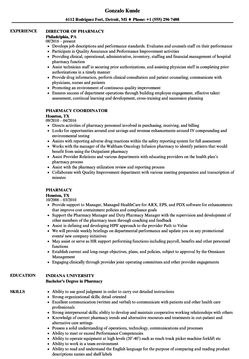 Pharmacy Resume Samples Velvet Jobs