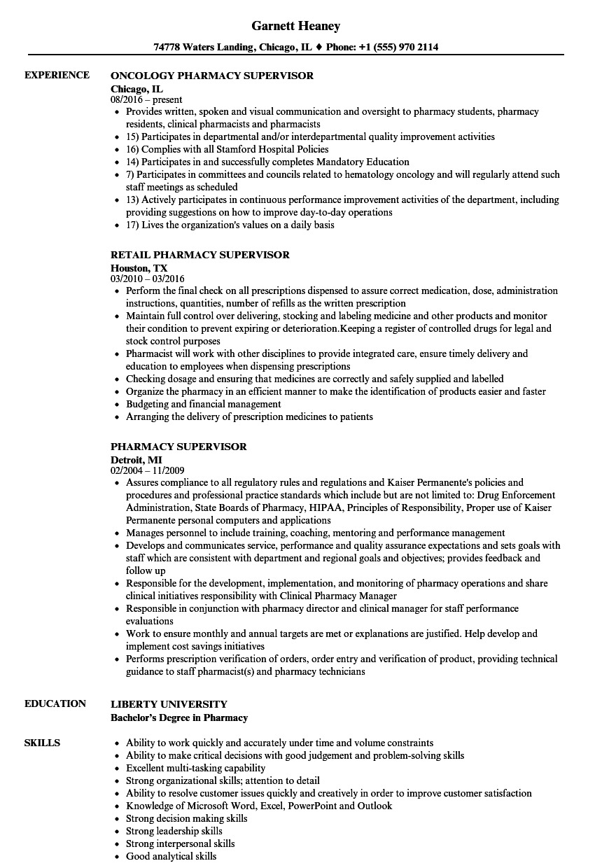 pharmacy supervisor resume samples