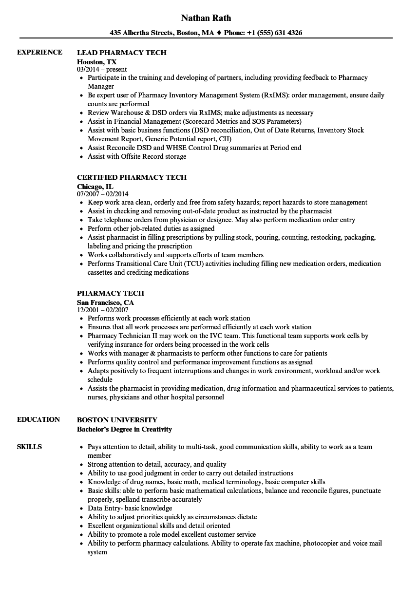 download pharmacy tech resume sample as image file