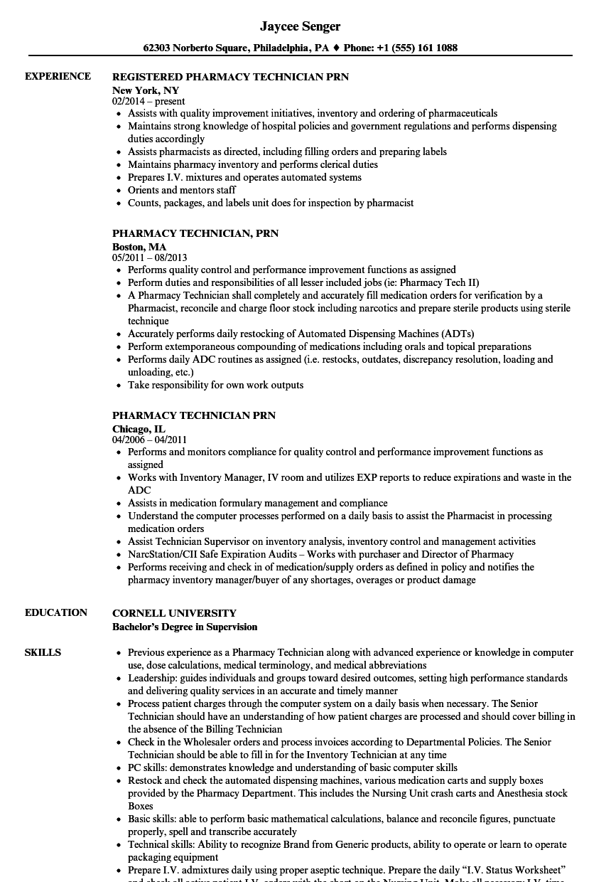 Pharmacy Technician Prn Resume Samples Velvet Jobs