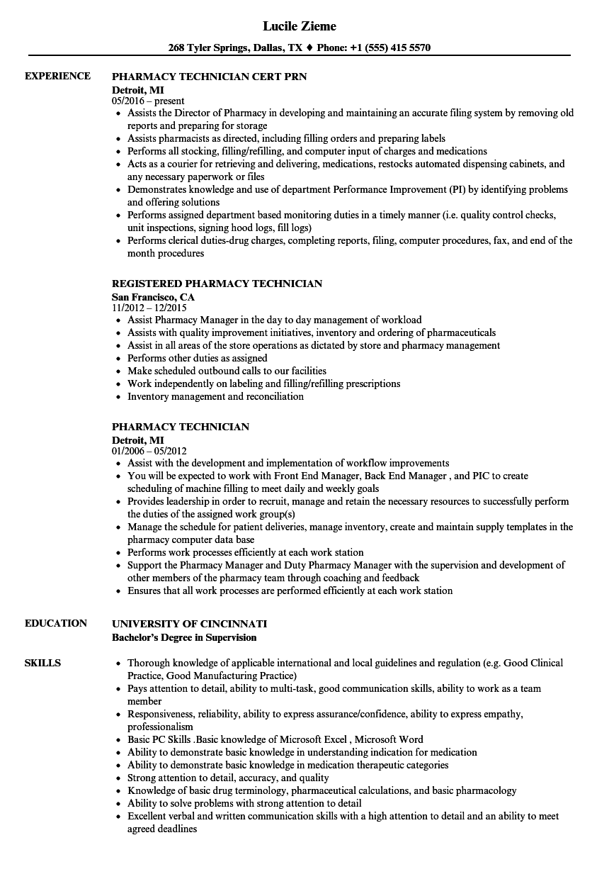 Pharmacy Technician Resume Samples | Velvet Jobs