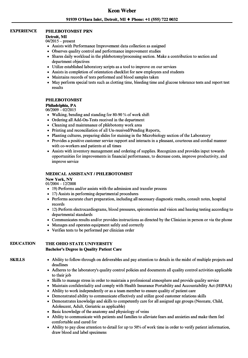 Velvet Jobs  Sample Phlebotomist Resume