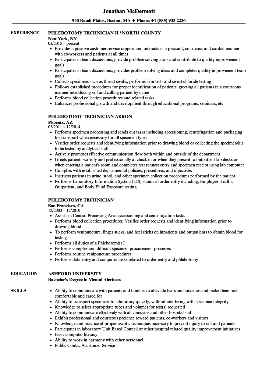 Download Phlebotomy Technician Resume Sample As Image File