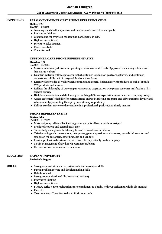 Phone Representative Resume Samples | Velvet Jobs