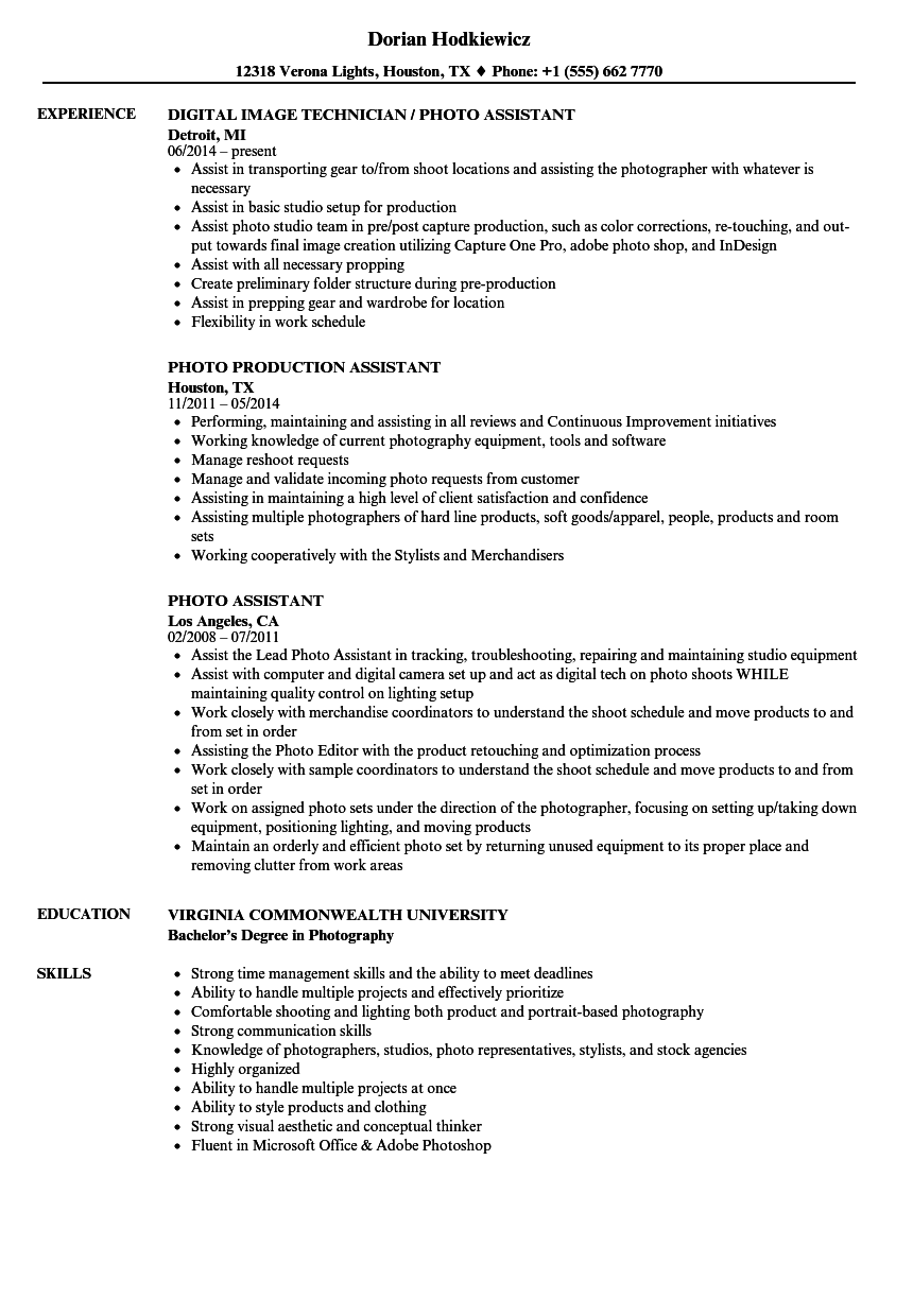 download photo assistant resume sample as image file - Production Assistant Resume Template