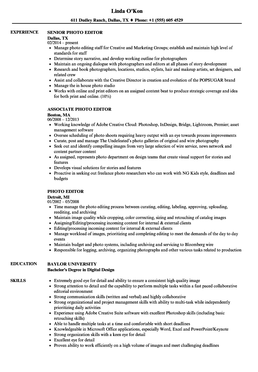 Photo Editor Resume Samples Velvet Jobs