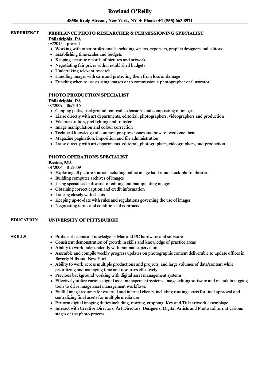 Photo Specialist Resume Samples | Velvet Jobs