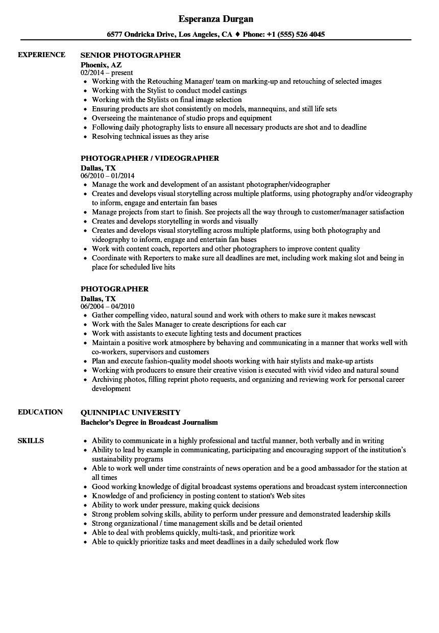 Download Photographer Resume Sample As Image File