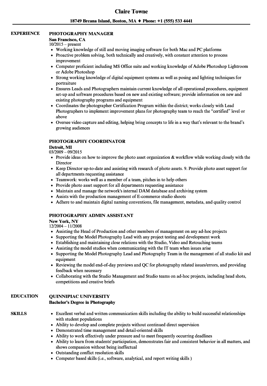download photography resume sample as image file - Photography Resume Examples