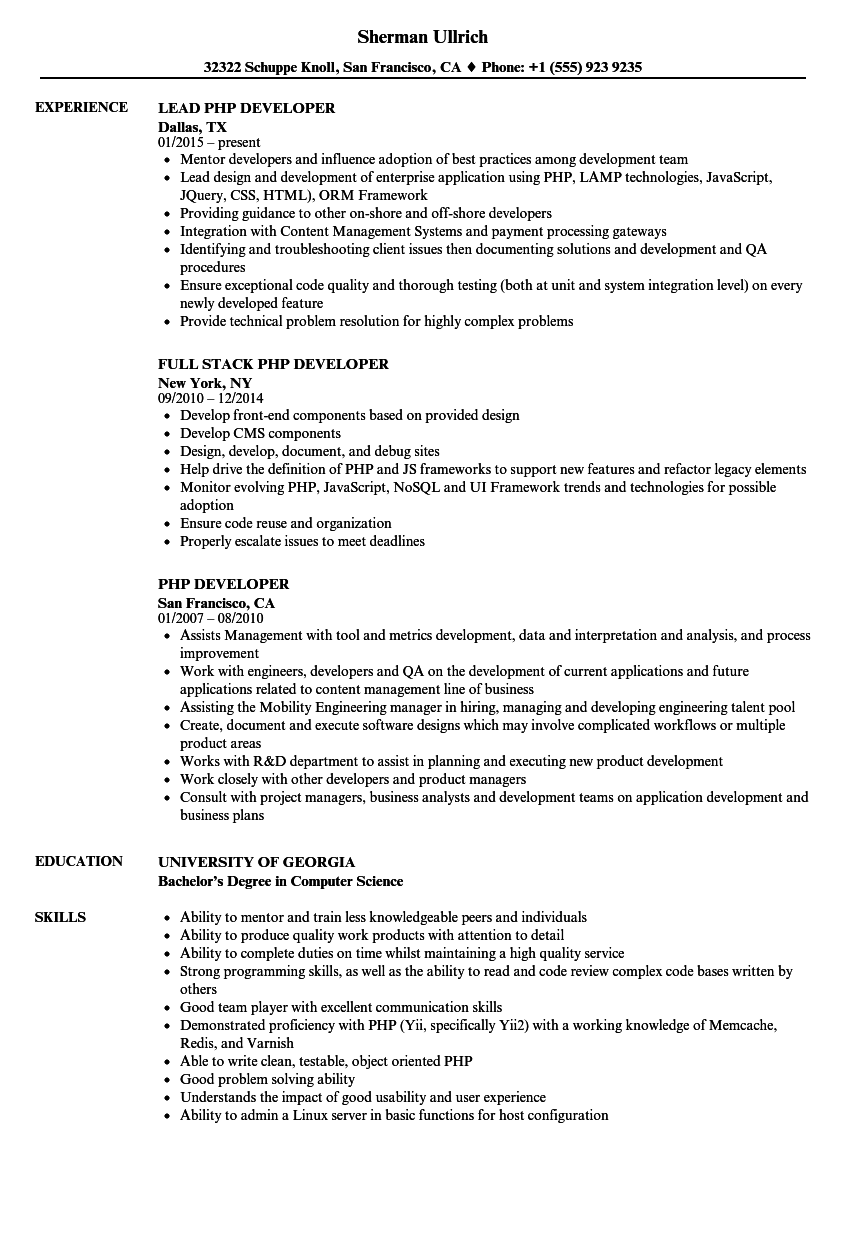 resume for experienced php developer