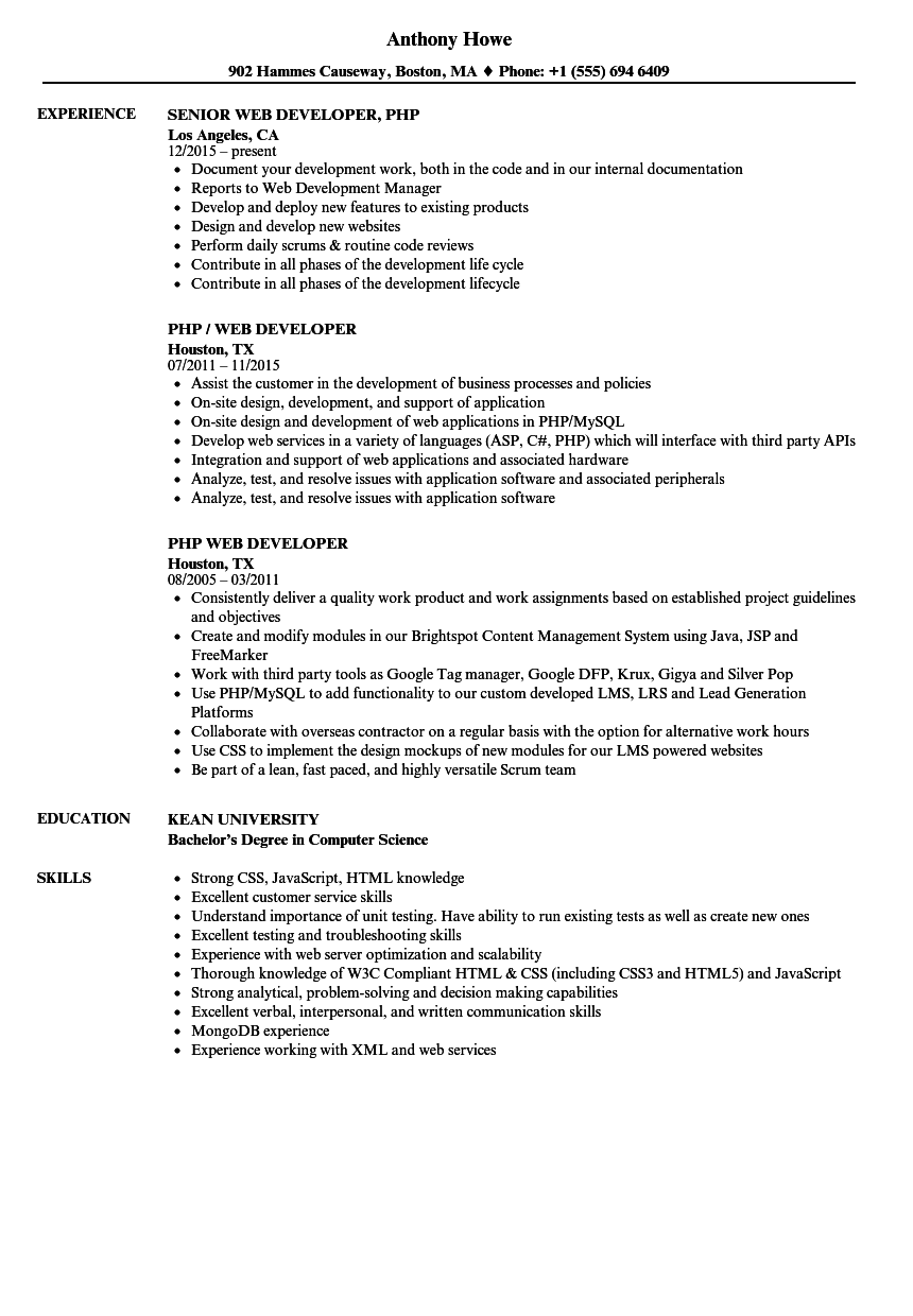 Php Web Developer Resume Samples Velvet Jobs - Example of resume html code