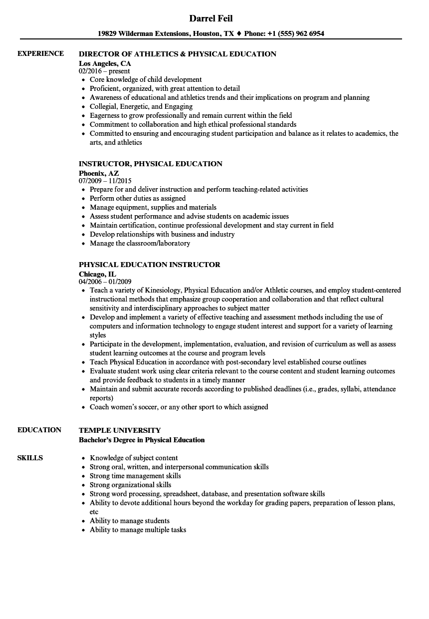 Physical Education Resume Samples Velvet Jobs