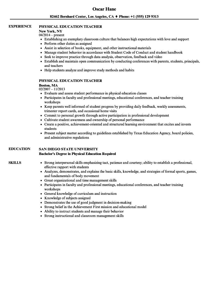 physical education teacher resume samples