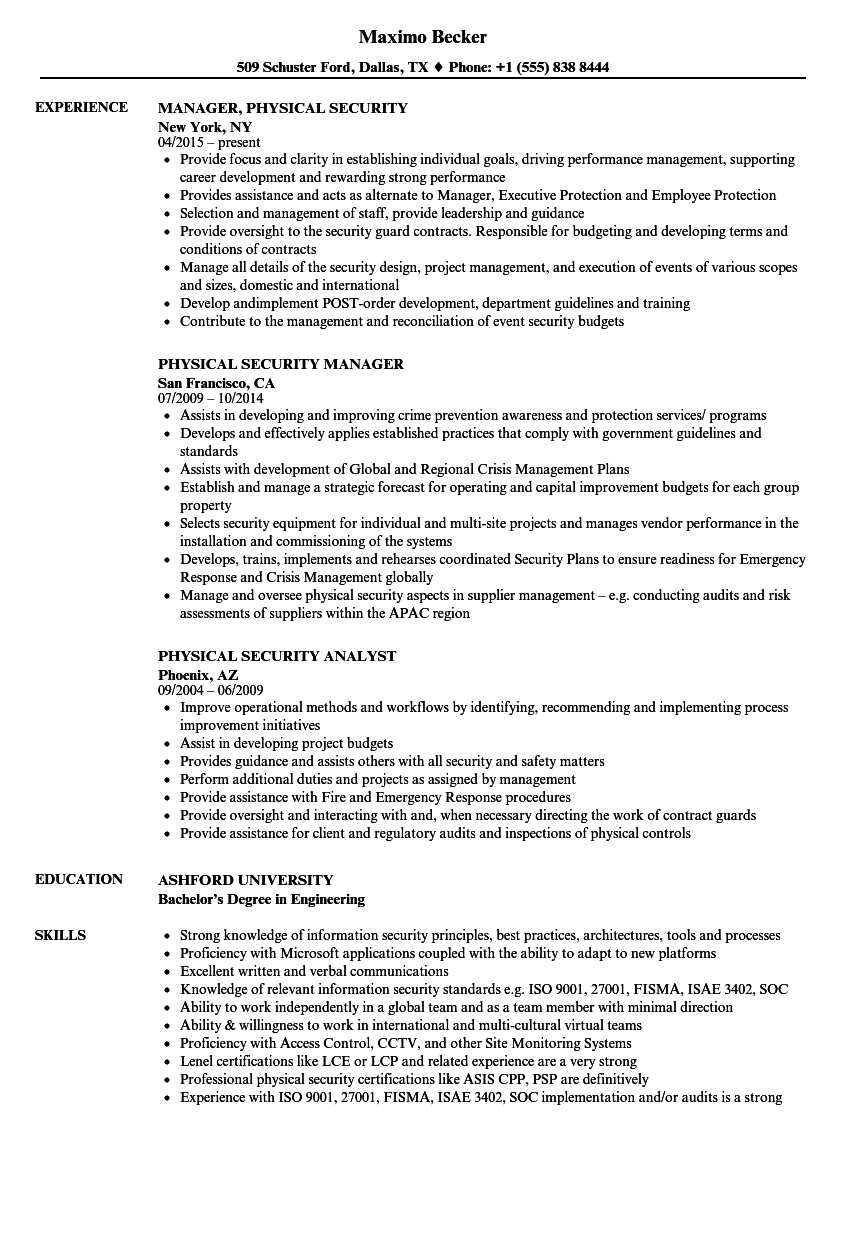 physical security resume samples