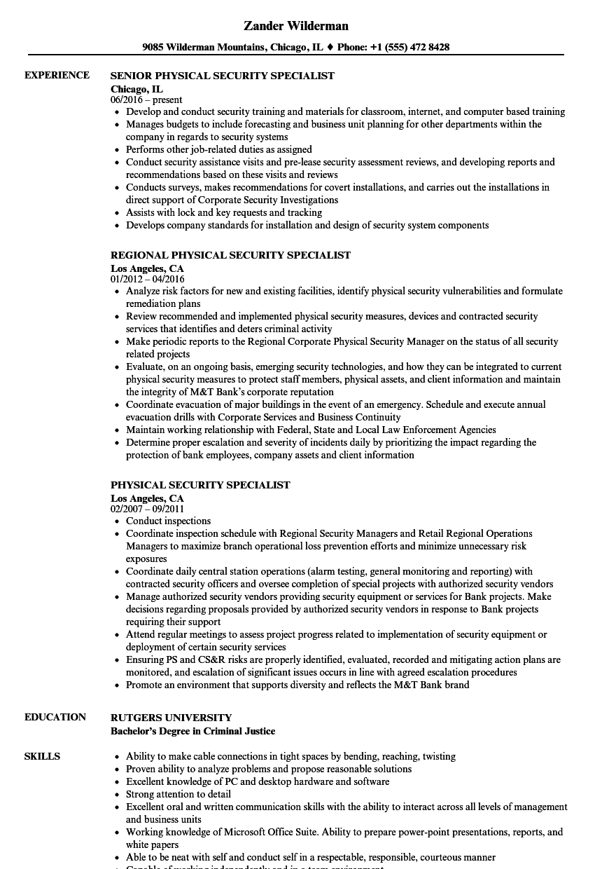 Amazing Download Physical Security Specialist Resume Sample As Image File  Security Specialist Resume