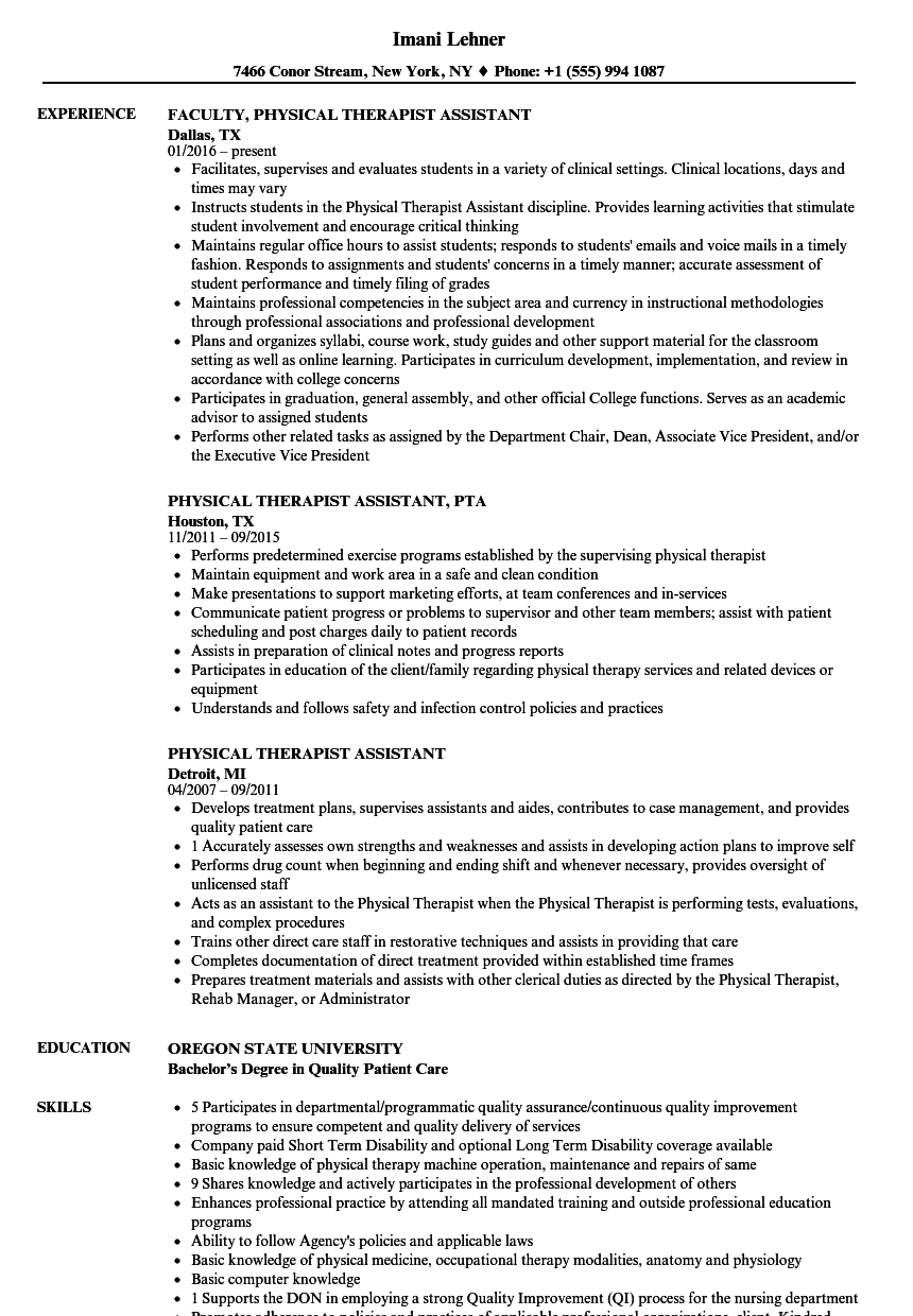 Velvet Jobs  Physical Therapist Assistant Resume