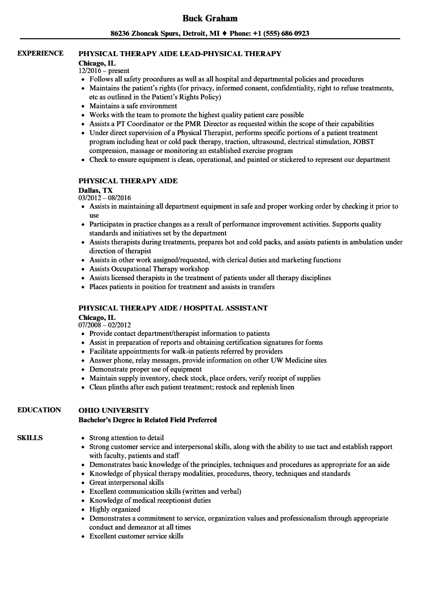 Download Physical Therapy Aide Resume Sample As Image File