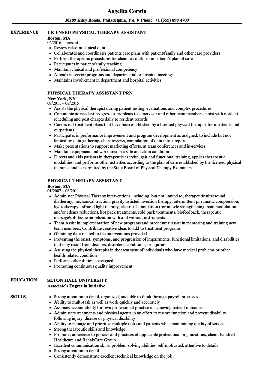 Velvet Jobs  Physical Therapy Assistant Resume