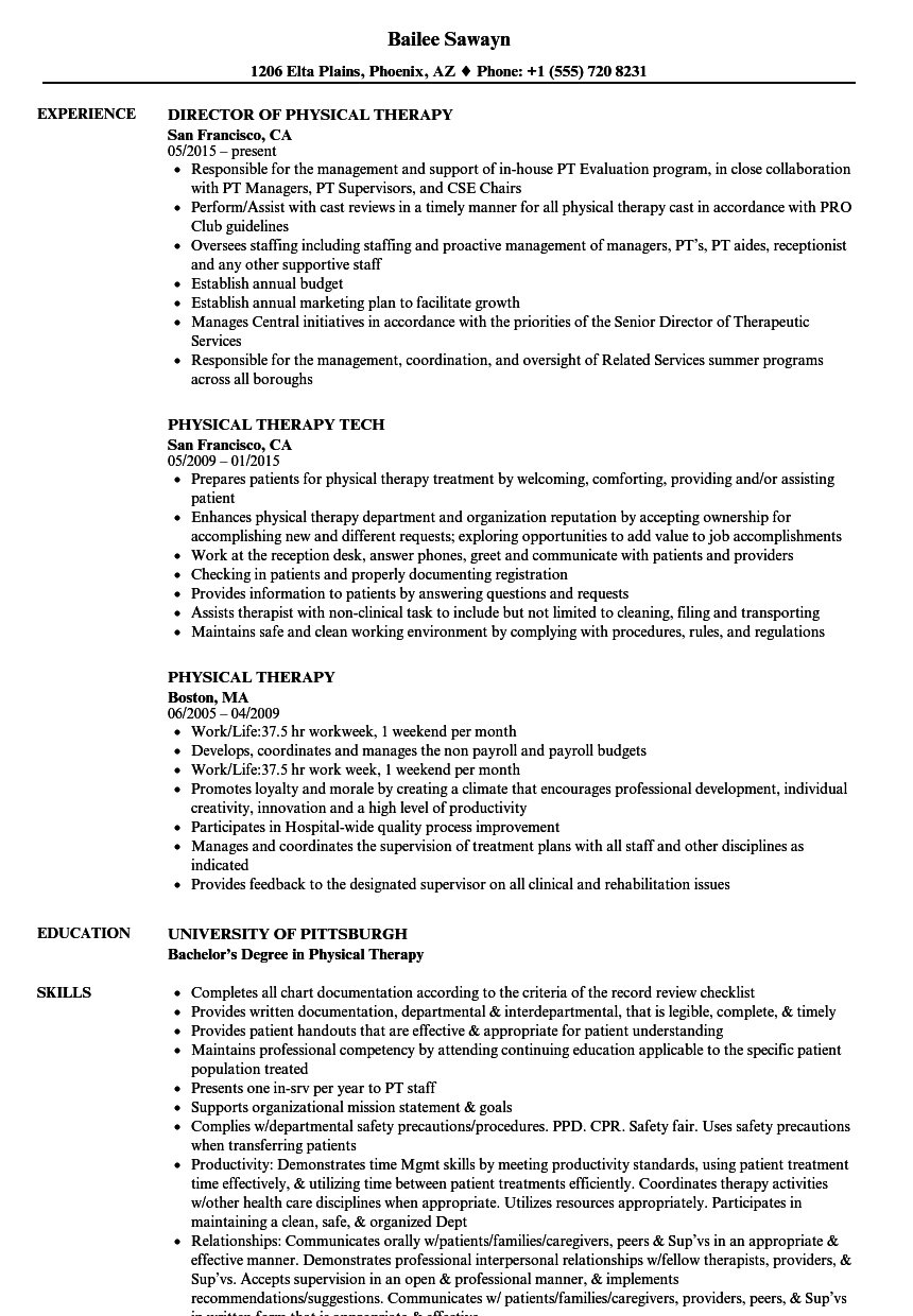Physical Therapy Resume Samples Velvet Jobs